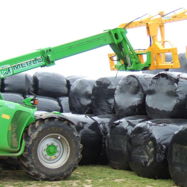 The Murray Machinery Big Bale Multihandler for handling wrapped silage bales.