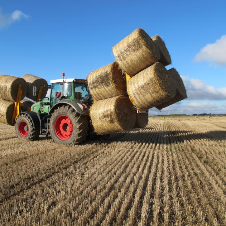 Octa-Quad Bale Handling System - front and rear sections for carrying 12 round bales at a time.