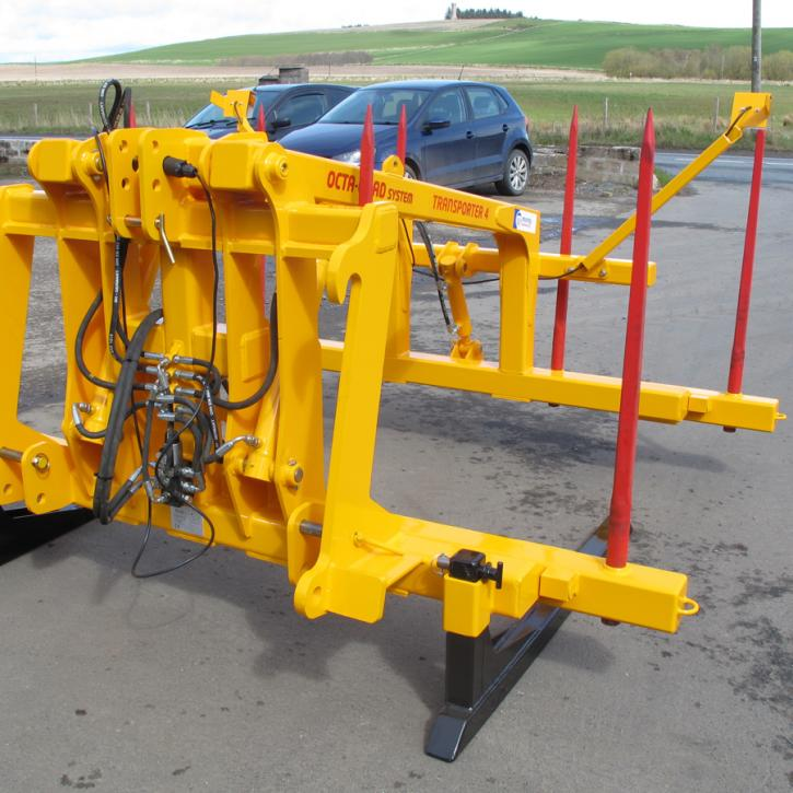 Octa-Quad Bale Handling System - front section for carrying 4 round bales or 2 Heston bales at a time. Showing folding tines version.