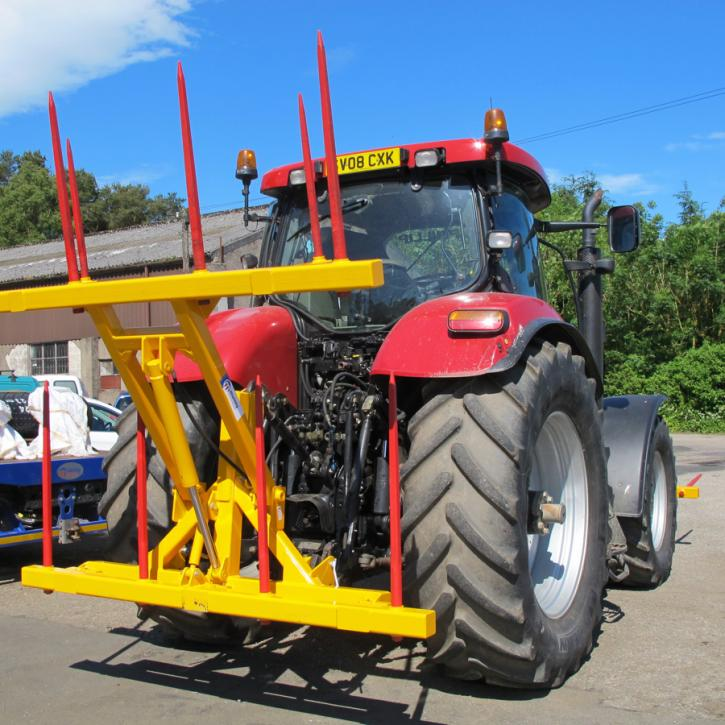 Hydraulically folding Double Front or Rear Bale Spike for tractors.