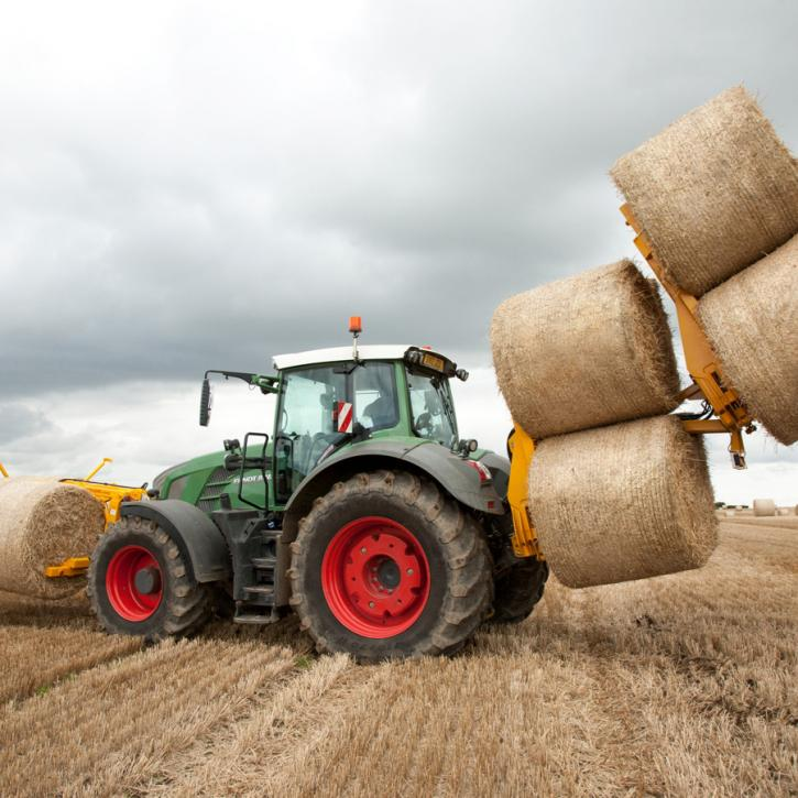 Octa-Quad Bale Handling System - front and rear sections for carrying 12 round bales or 6 Heston bales at a time.